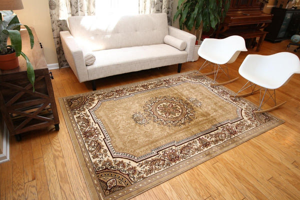 Beige French European Medallion Traditional Area Rugs