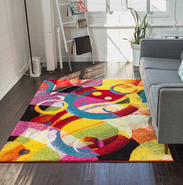 7011 Multi-Color Colorful Contemporary Area Rugs