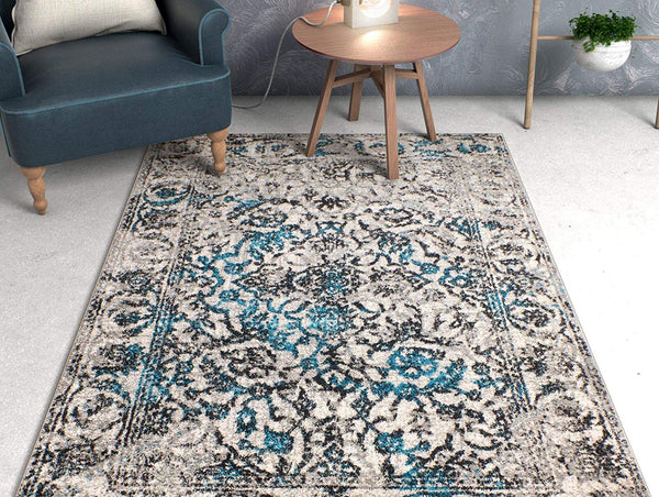 6115 Blue Gray Vintage Distressed Oriental Area Rugs