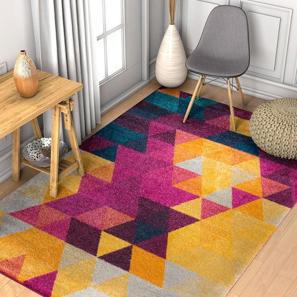 2959 Purple Geometric Contemporary Area Rugs