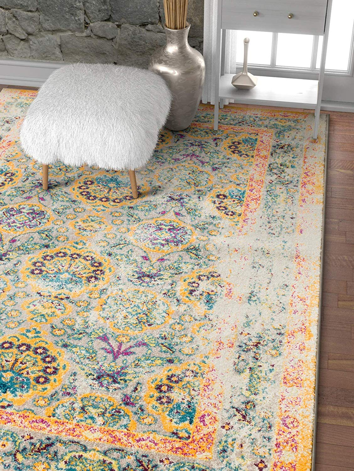 6107 orange persian thick distressed vintage area rugs