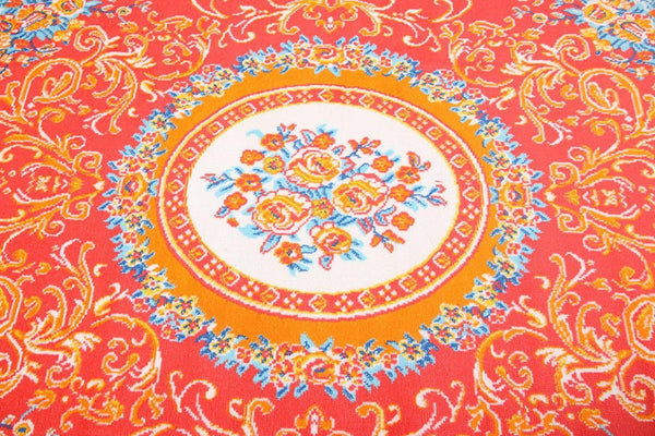 0842 Red Blue Colorful Aubusson Traditional Area Rugs