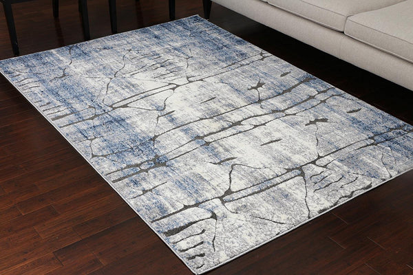 5607 Blue Carved Contemporary Area Rugs
