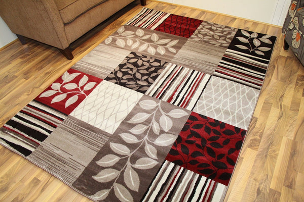 Tobis Beige Panels Transitional Area Rugs