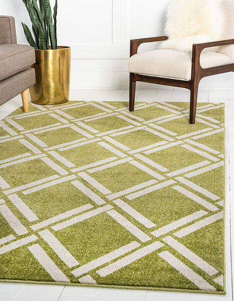9718 Green Moroccan Trellis Contemporary Area Rugs