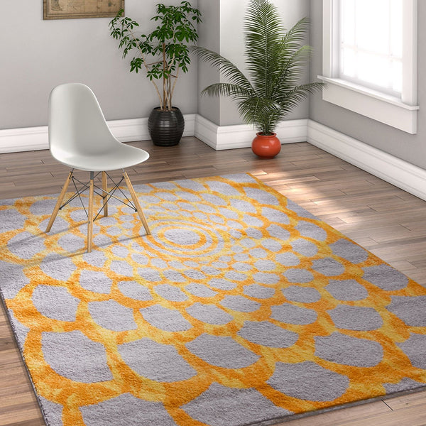 2948 Yellow Gray Modern Contemporary Area Rugs