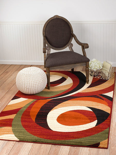 2045 Burgundy Multi Color Abstract Contemporary Area Rugs