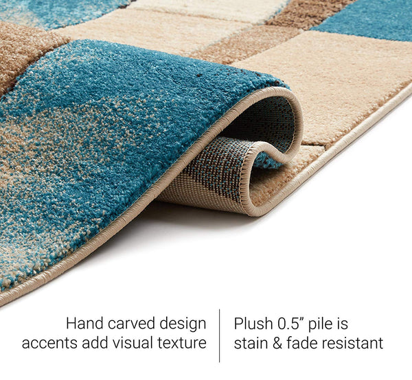 6085 Blue Carved Abstract Contemporary Area Rugs