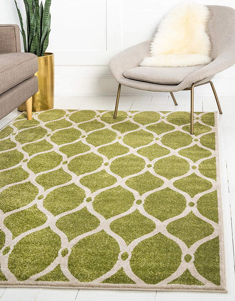 9717 Green Moroccan Trellis Contemporary Area Rugs