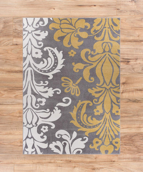 3953 Gray Gold Damask Oriental Area Rugs
