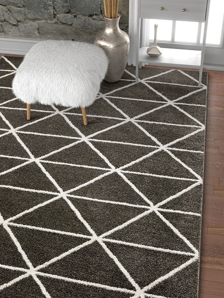 2915 Charcoal Ivory Soft & Thick Contemporary Area Rugs
