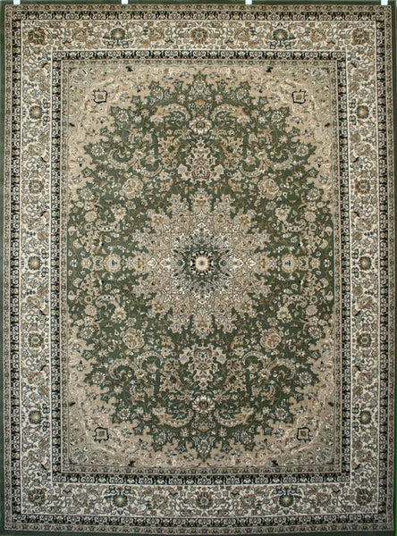 Persian-Rugs Green Gold Isfahan Oriental Area Rugs | Bargain Area Rugs