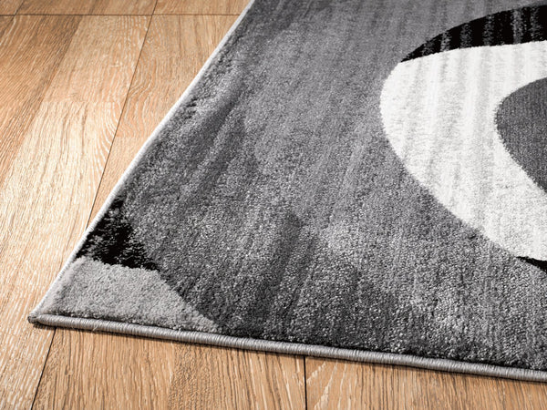 2037 Gray Black Abstract Contemporary Area Rugs