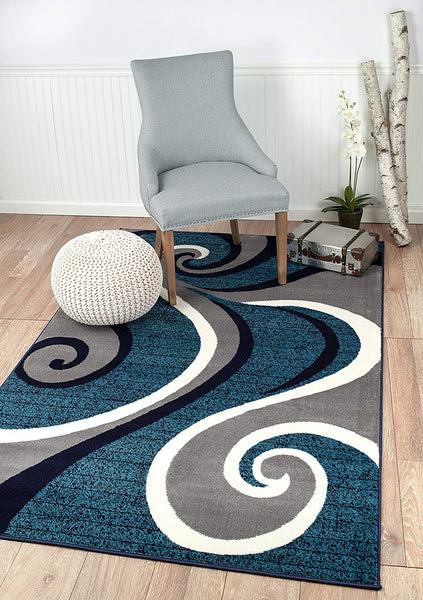 2702 Blue Gray Abstract Contemporary Area Rugs
