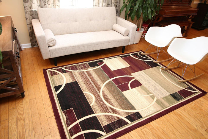 5070 Red Geometric Contemporary Area Rugs