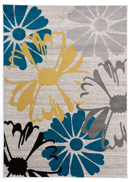 3805 Gray Teal Floral Contemporary Area Rugs