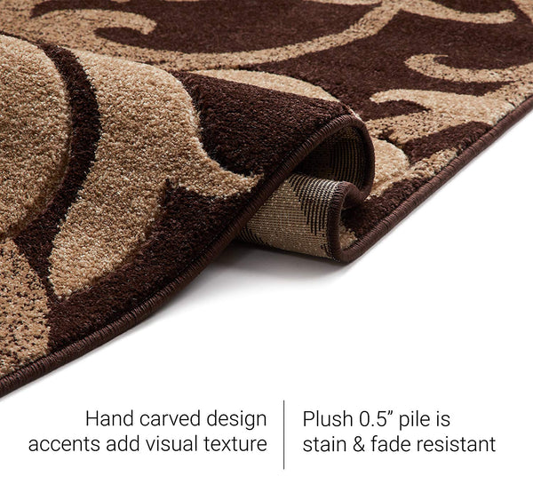 6088 Brown Floral Carved Contemporary Area Rugs