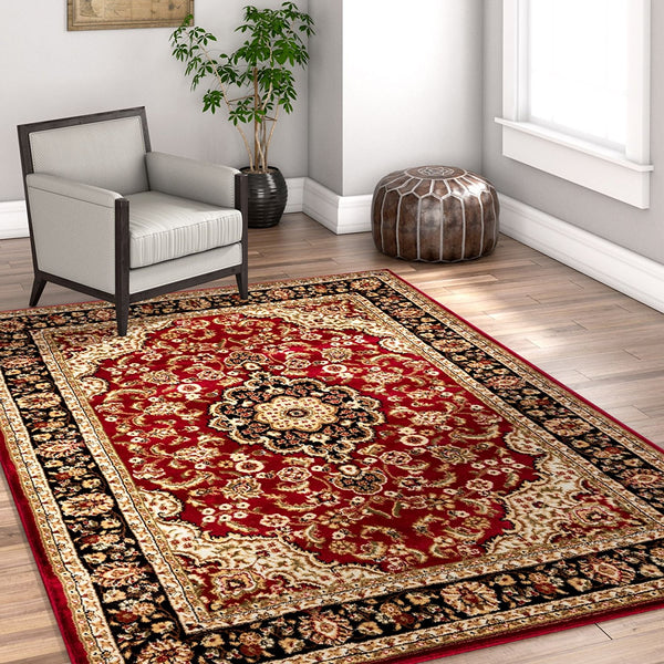 2917 Burgundy Medallion Persian Area Rugs