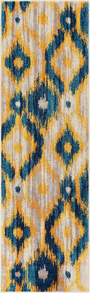 2960 Blue Yellow Tribal Contemporary Area Rugs
