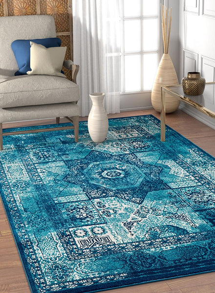 2931 Blue Medallion Distressed Traditional Area Rugs
