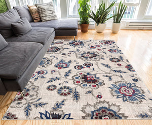 2958 Blue Flower Design Contemporary Area Rugs