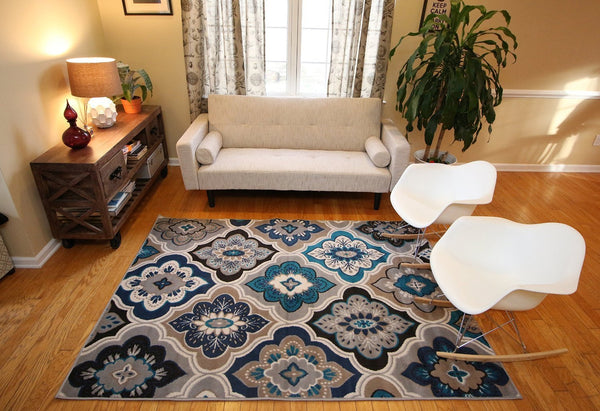Silver Modern Panals Contemporary Area Rugs