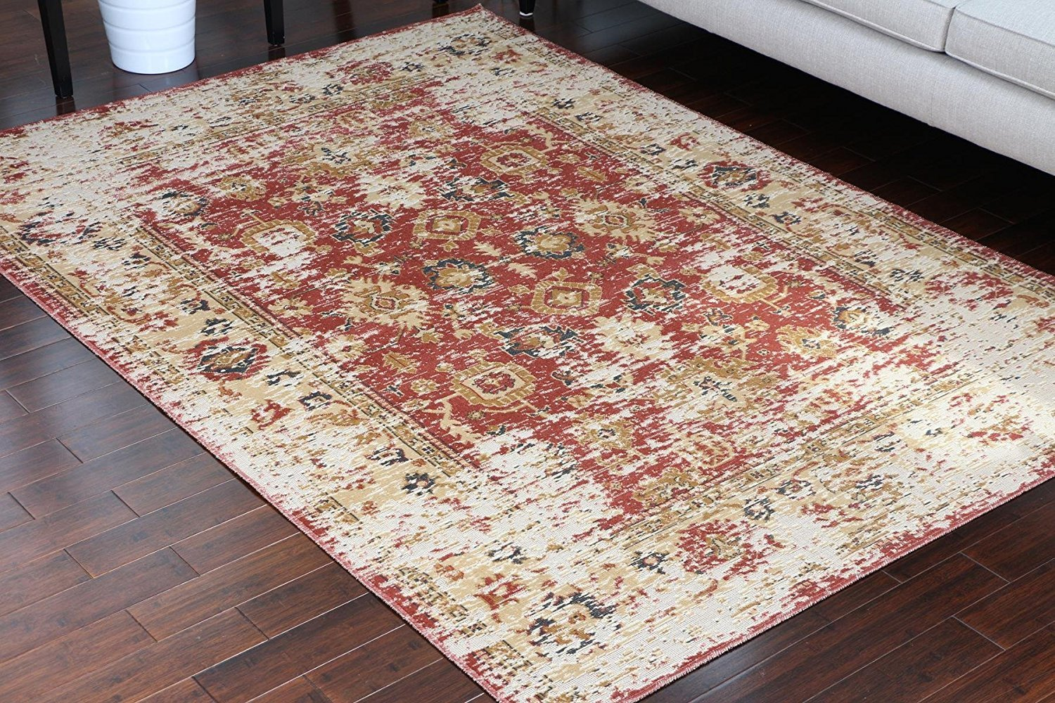 Red Oriental Distressed Vintage Antique Style Cheap Large