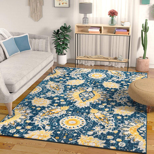 2946 Blue Yellow Vintage Oriental Area Rugs