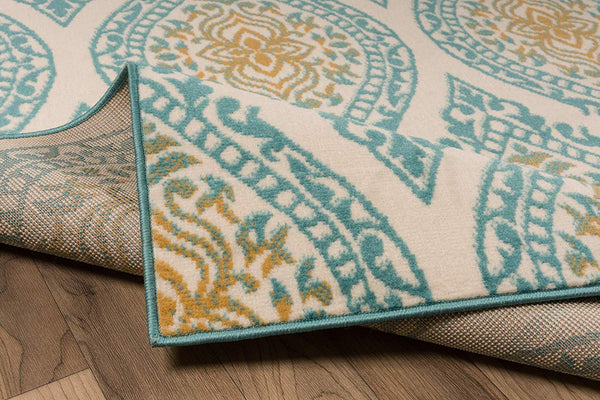 5088 Blue Gold Damask Area Rugs
