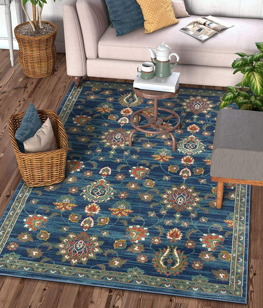 2938 Blue Floral Persian Medallion Area Rugs
