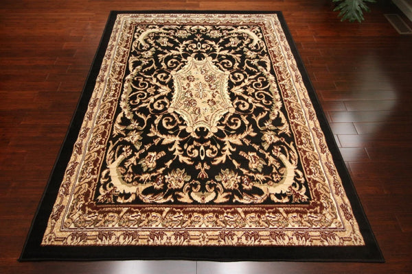 Persian Rugs Black Medallion Isfahan Oriental Rugs | Bargain Area Rugs