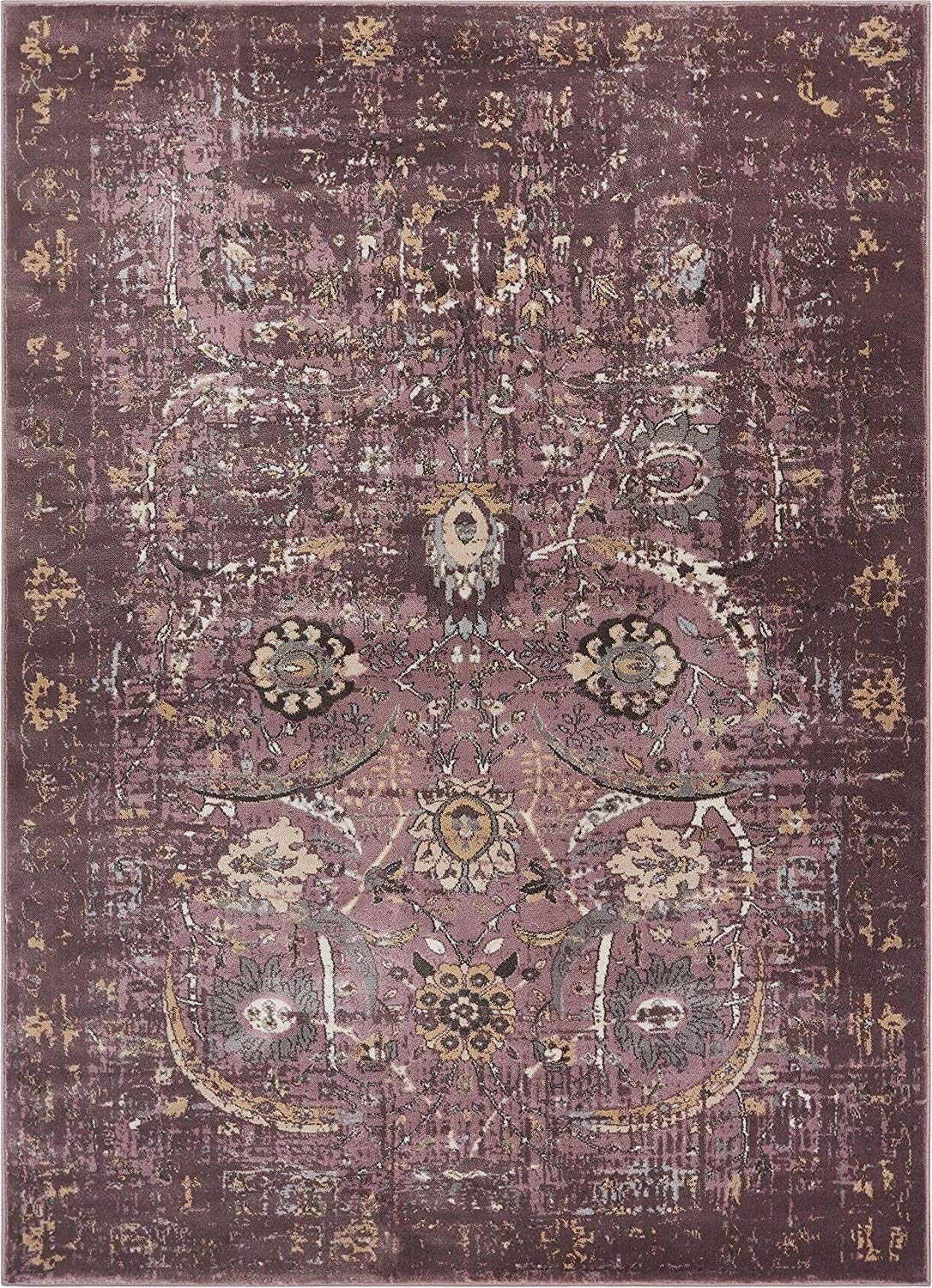 6106 lavender purple thick distressed vintage area rugs