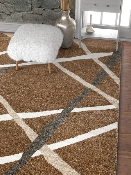 2964 Brown Abstract Contemporary Area Rugs