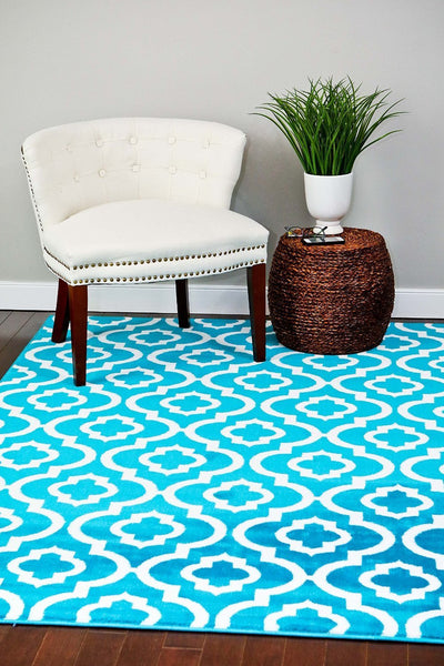 Turquoise Moroccan Trellis Affordable Area Rugs