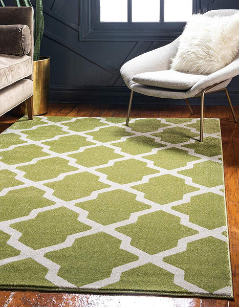 9716 Green Moroccan Trellis Contemporary Area Rugs