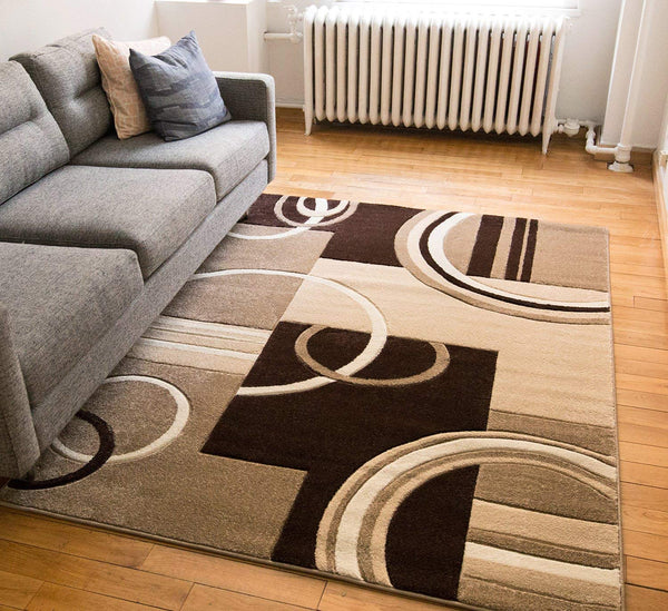 6097 Beige Geometric Hand Carved Contemporary Area Rugs