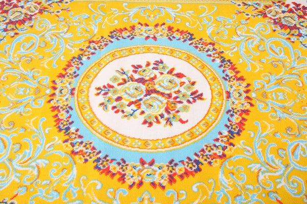 0842 Yellow Blue Colorful Aubusson Traditional Area Rugs