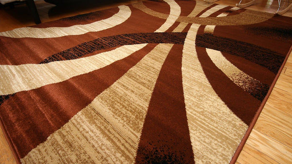Brown Beige Abstract Modern Contemporary Area Rugs