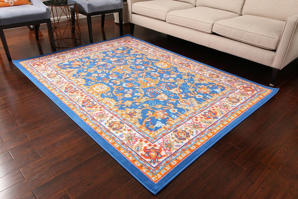 0843 Dark Blue Colorful Oriental Area Rugs