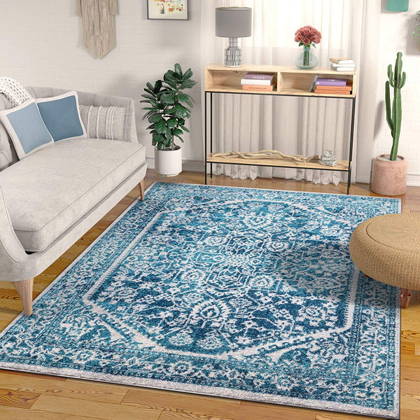 3957 Teal Blue Medallion Vintage Oriental Area Rugs
