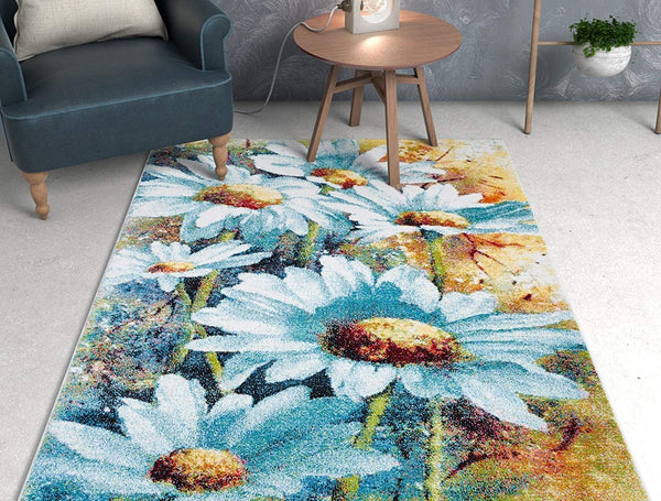 6122 Multi Color Daisy Flower Design Area Rugs