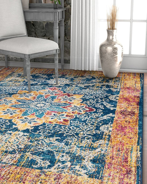 2933 Blue Multi Vintage Distressed Traditional Area Rugs