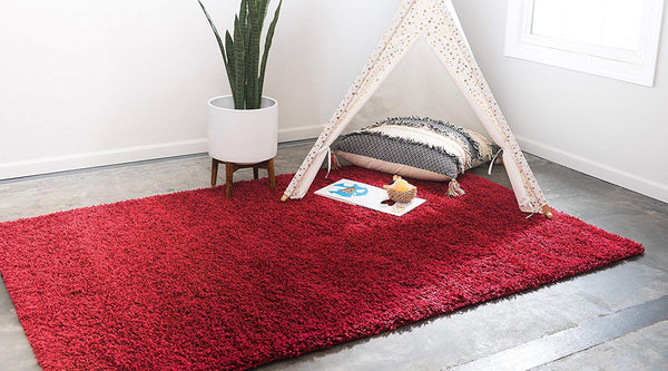 8000 Cherry Red Solid Color Shag Area Rugs