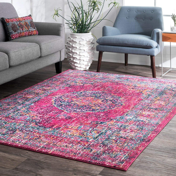 9340 Pink Colorful Distressed Oriental Area Rugs