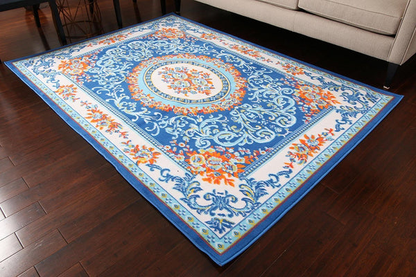 0842 Dark Blue Blue Colorful Aubusson Traditional Area Rugs