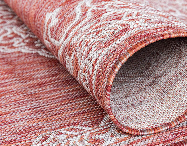 7132 Rust Red Outdoor Distressed Vintage Oriental Area Rugs