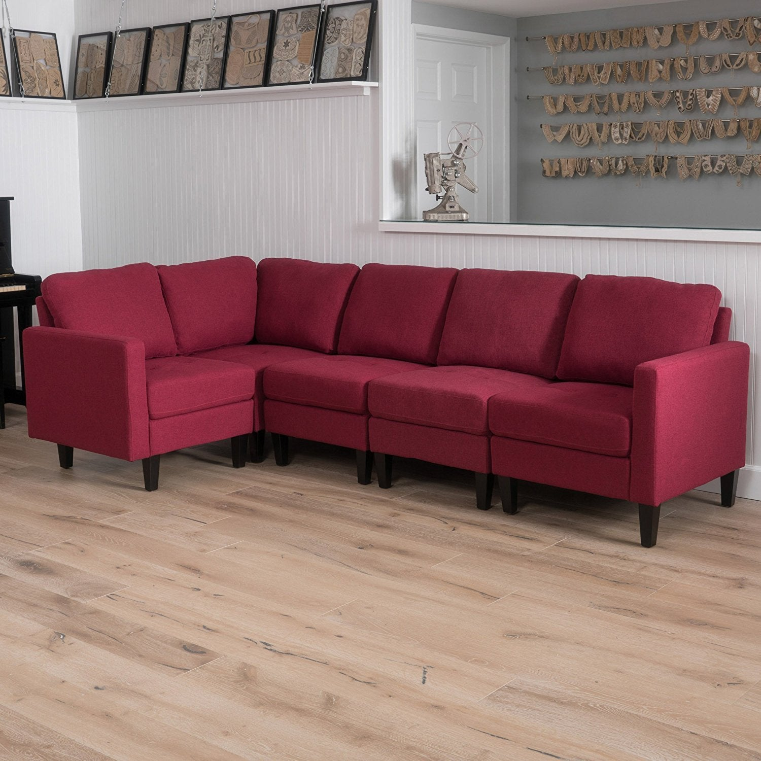 New Century® Deep Red Fabric Sectional Sofa