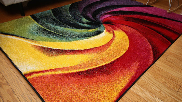 Radiance Colorful Modern Swirls Contemporary Area Rugs