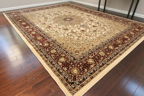 Ivory Cream Persian Isfahan Oriental Area Rugs