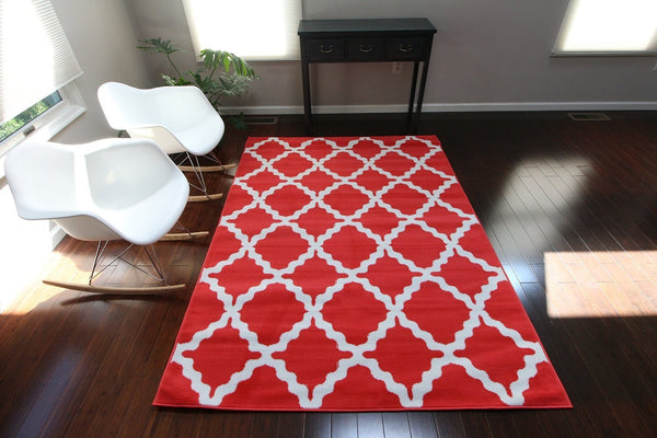Red Morrocan Trellis Contemporary Area Rugs